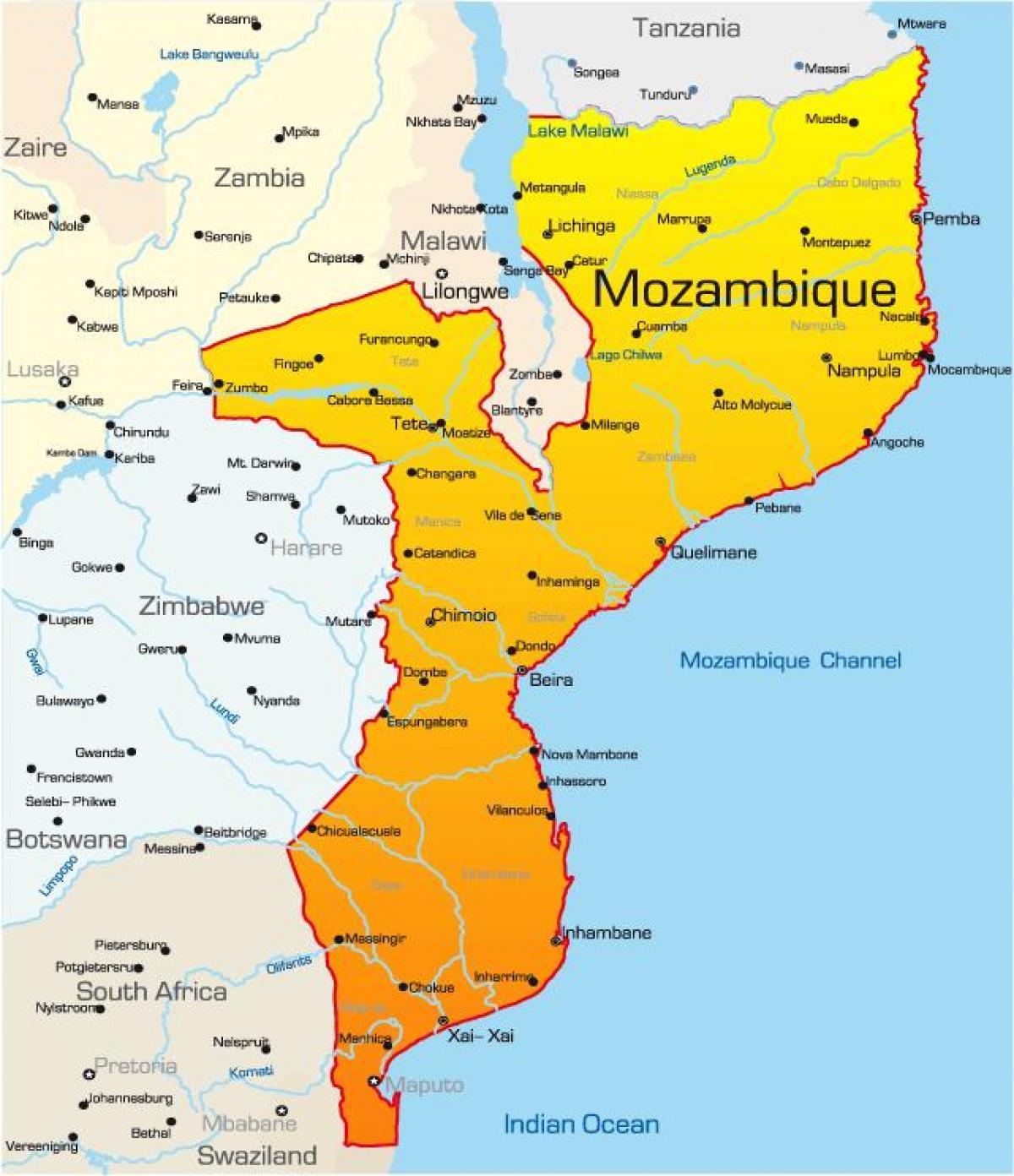el mapa de Mozambique
